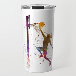 Young woman basketball player 04 in watercolor Travel Mug