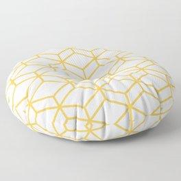 Geometric Honeycomb Lattice in Mustard Yellow and White. Modern Clean Minimalist Floor Pillow