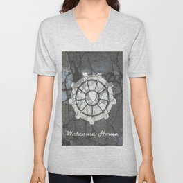 Fallout inspired welcome home, vault door, print, poster, wall art, neutral Unisex V-Neck