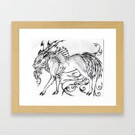Calligraphy Kirin Framed Art Print