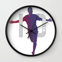 messi Wall Clocks featuring Lionel Messi Graphic by Craig Davey