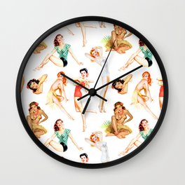Vintage Tropical Hawaiian Pinup Girls Wall Clock