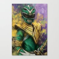 power ranger Canvas Prints featuring Green Mighty Morphin Power Ranger by SachsIllustration