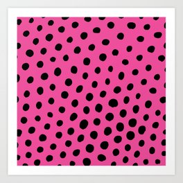 Black Dots with Pink Background Art Print