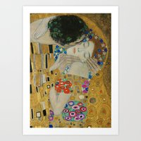 gustav klimt Art Prints featuring Gustav Klimt - The Kiss (detail) by TilenHrovatic