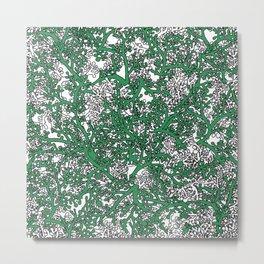 Green and White Camo Metal Print