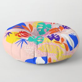 Keep Growing - Tropical plant on peach Floor Pillow