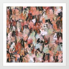 Abstract Confetti Landscape Peach Art Print