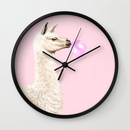Playful Llama Chewing Bubble Gum in Pink Wall Clock