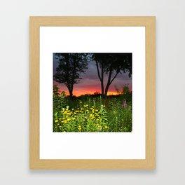 Sunset Over a Wildflower Field Framed Art Print
