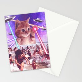 cat invader from space galaxy marsians attacking beach Stationery Cards
