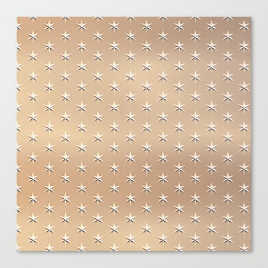 silver star pattern on gold Canvas Print