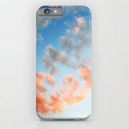 Vibrant orange clouds on gradient blue sky textured background twilight iPhone Case