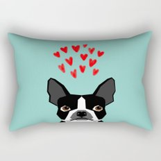 Boston Terrier - Hearts, Cute Funny Dog Cute Valentines Dog, Pet, Cute, Animal, Dog Love,  Rectangular Pillow