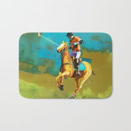 poloplayer abstract turquoise ochre Bath Mat