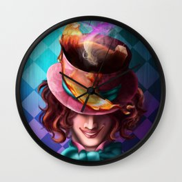 Crazy Mad Hatter Wall Clock