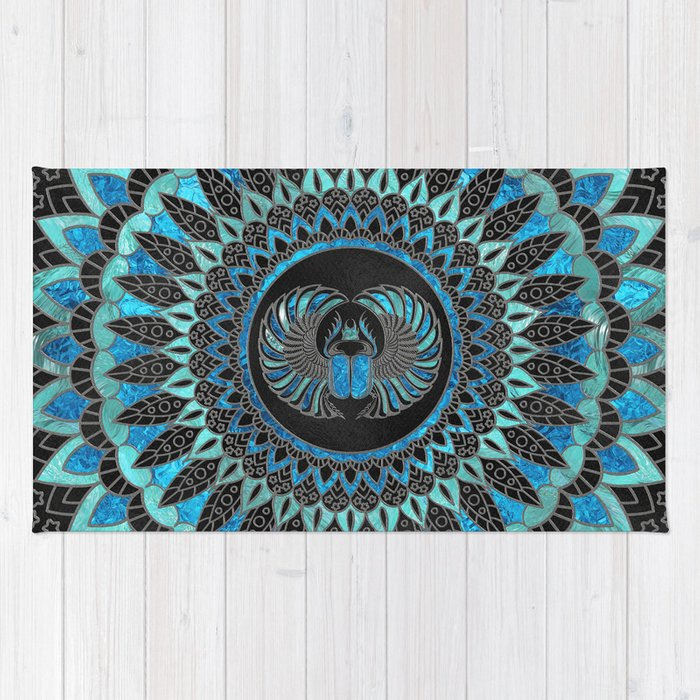 Egyptian Scarab Beetle - Gold and Blue glass Rug