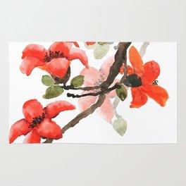red orange kapok flowers watercolor Rug