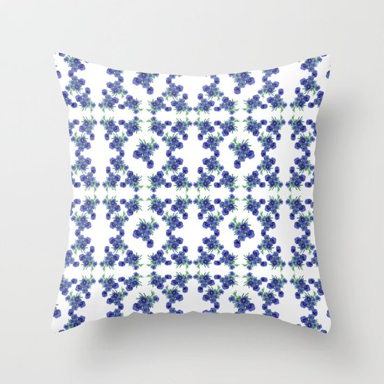 Violet Flowers Pattern Throw Pillow
