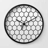 hexagon Wall Clocks featuring Hexagon by Thomas Official