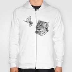 Snow leopard cub and dragonfy G148 Hoody