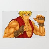 street fighter Area & Throw Rugs featuring Ken Street Fighter by jasonarts