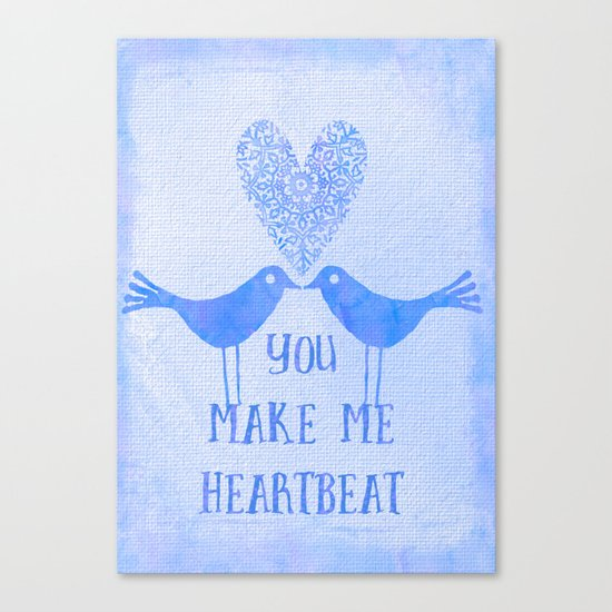 Heartbeat love birds blue Canvas Print