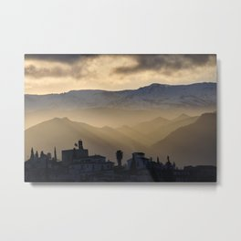 Sunrays. The Alhambra And Sierra Nevada At Sunrise. Spain Metal Print