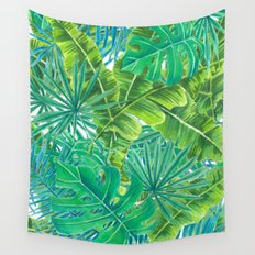 Tropcal leaves watercolor Wall Tapestry