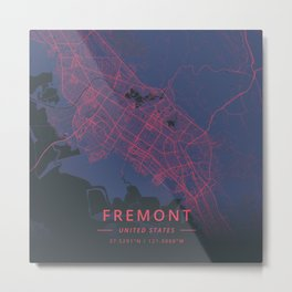 Fremont, United States - Neon Metal Print