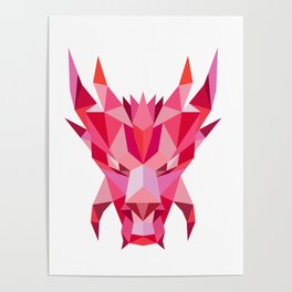 Dragon Head Front Low Polygon Style Poster