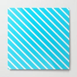 Neon Blue Diagonal Stripes Metal Print
