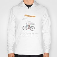 bicycles Hoodies featuring seagulls on bicycles by Marc Johns
