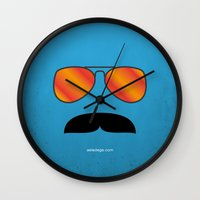 tom selleck Wall Clocks featuring MAGNUM (Tom Selleck) by Alberto Lamote de Grignon