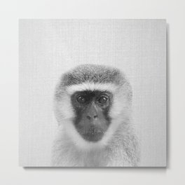 Monkey - Black & White Metal Print