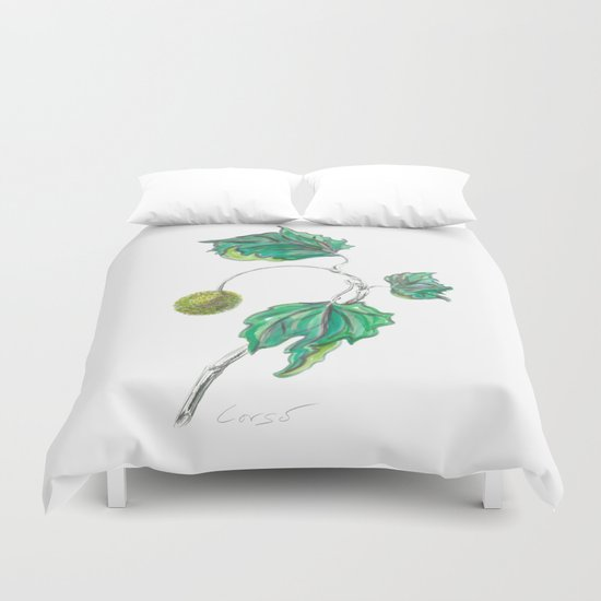 Sycamore 01 Botanical Flower Duvet Cover