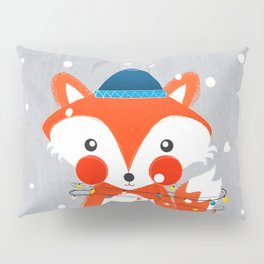 Christmas Fox with fairy lights Pillow Sham
