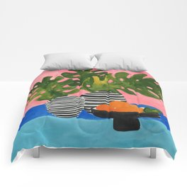 Pink Wall Monstera Comforters