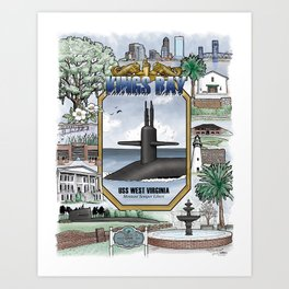 USS West Virginia - Kings Bay Submarine Service (gold dolphins) Art Print
