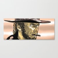clint eastwood Canvas Prints featuring Clint Eastwood by Daniel Hatcher