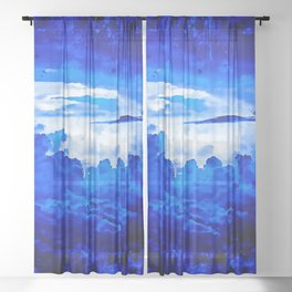 cloudy sky blue turquoise splatter watercolor Sheer Curtain