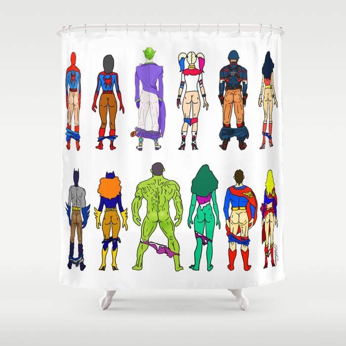 Superhero Butts - Power Couple Shower Curtain by notsniw | Society6
