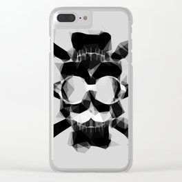 psychedelic skull art geometric triangle pattern abstract in black and white Clear iPhone Case