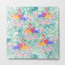 Tropical pink green watercolor floral colorful flamingo bird Metal Print