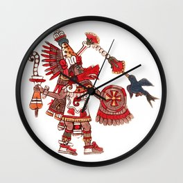 Dancing Aztec shaman warrior Wall Clock