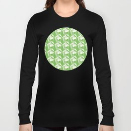 3D Optical Illusion: Green Dodecahedron Pattern Long Sleeve T-shirt