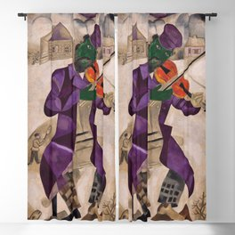 The Green Violinist, France winter scene portrait circa 1924 by Marc Chagall Blackout Curtain
