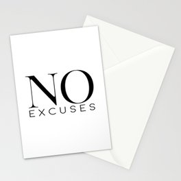 No Excuses, Printable Wall Art, Fitness Sign, Motivational Print, Gift Idea Stationery Cards