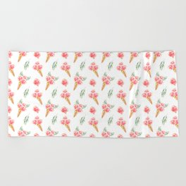 Floral Chill Rose Pattern Beach Towel