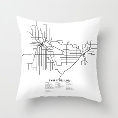 Twin Cities Lines Map Throw Pillow